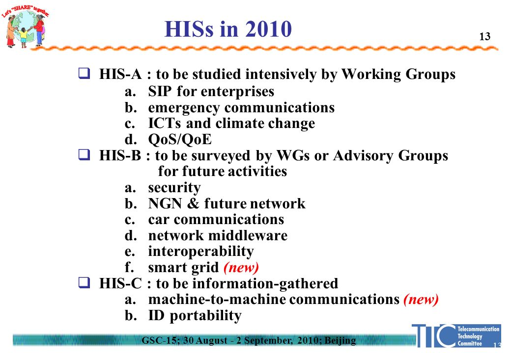13 HISs in 2010  HIS-A : to be studied intensively by Working Groups a.SIP for enterprises b.emergency communications c.ICTs and climate change d.QoS/QoE  HIS-B : to be surveyed by WGs or Advisory Groups for future activities a.security b.NGN & future network c.car communications d.network middleware e.interoperability f.smart grid (new)  HIS-C : to be information-gathered a.machine-to-machine communications (new) b.ID portability GSC-15; 30 August - 2 September, 2010; Beijing 13