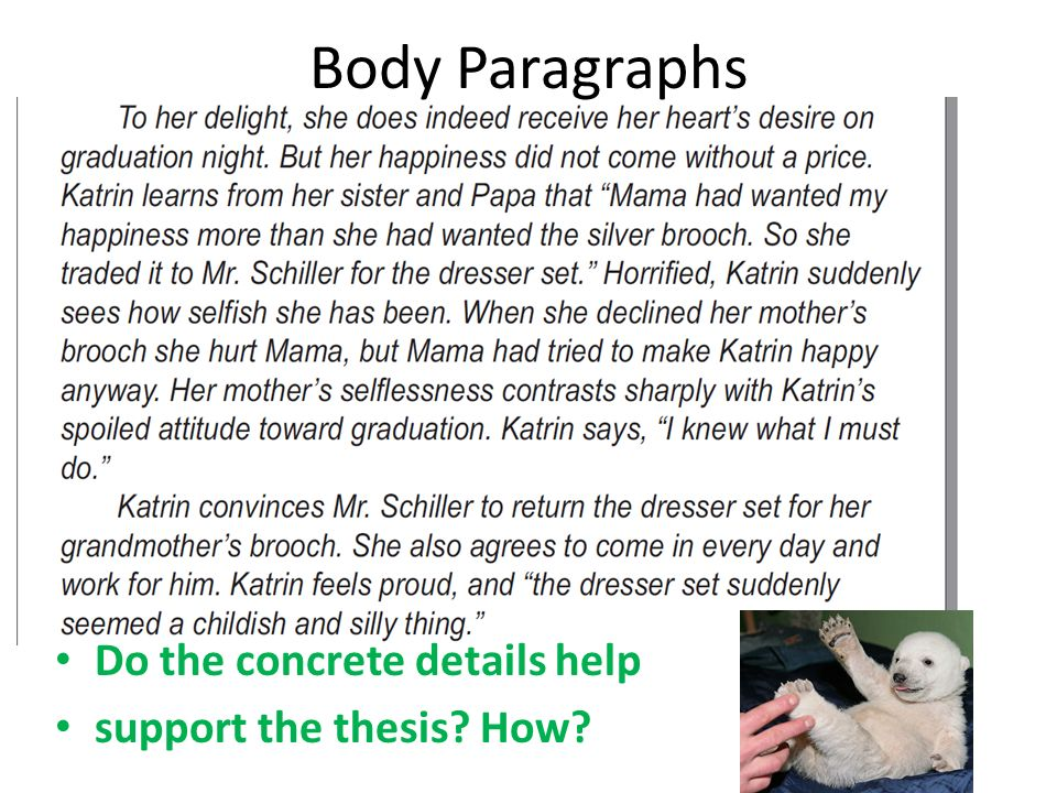 Body Paragraphs Do the concrete details help support the thesis How