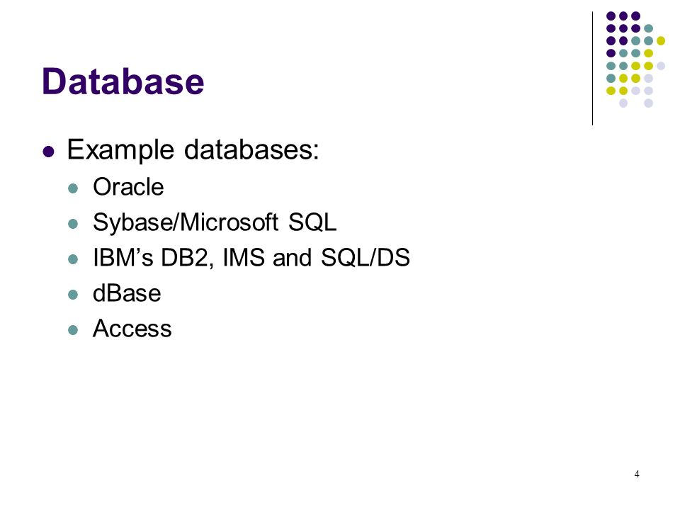 1 Overview of Databases  2 Content Databases Example: Access