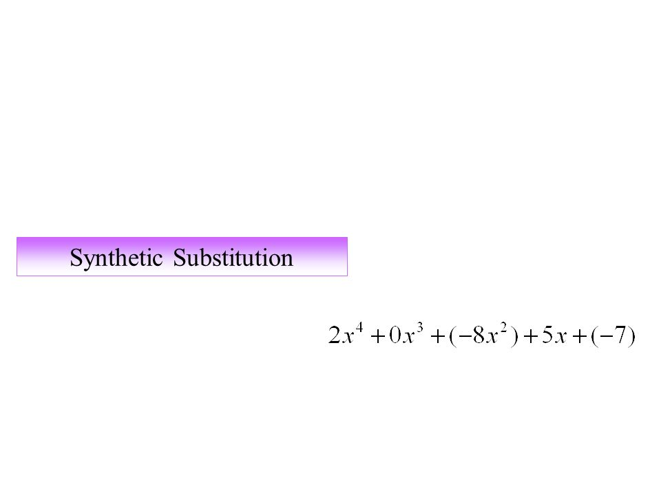 Synthetic Substitution