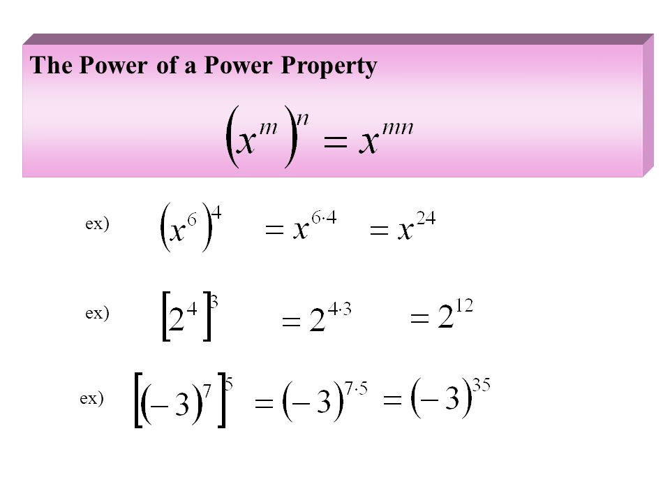 The Power of a Power Property ex)