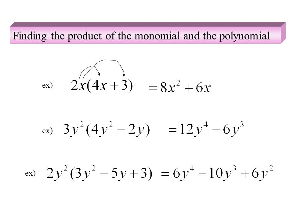 Finding the product of the monomial and the polynomial ex)