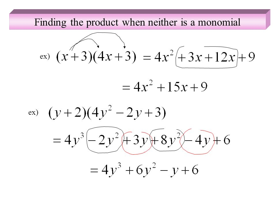 Finding the product when neither is a monomial ex)