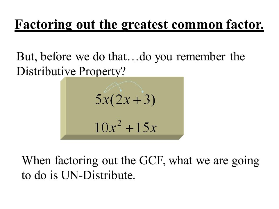 Factoring out the greatest common factor.