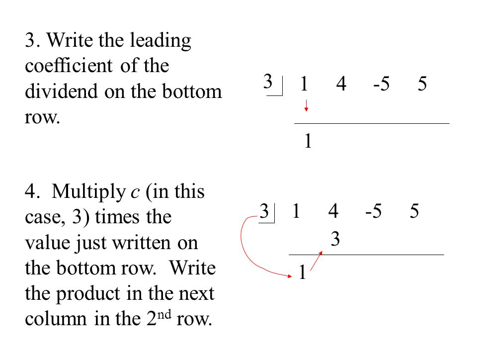 3. Write the leading coefficient of the dividend on the bottom row.