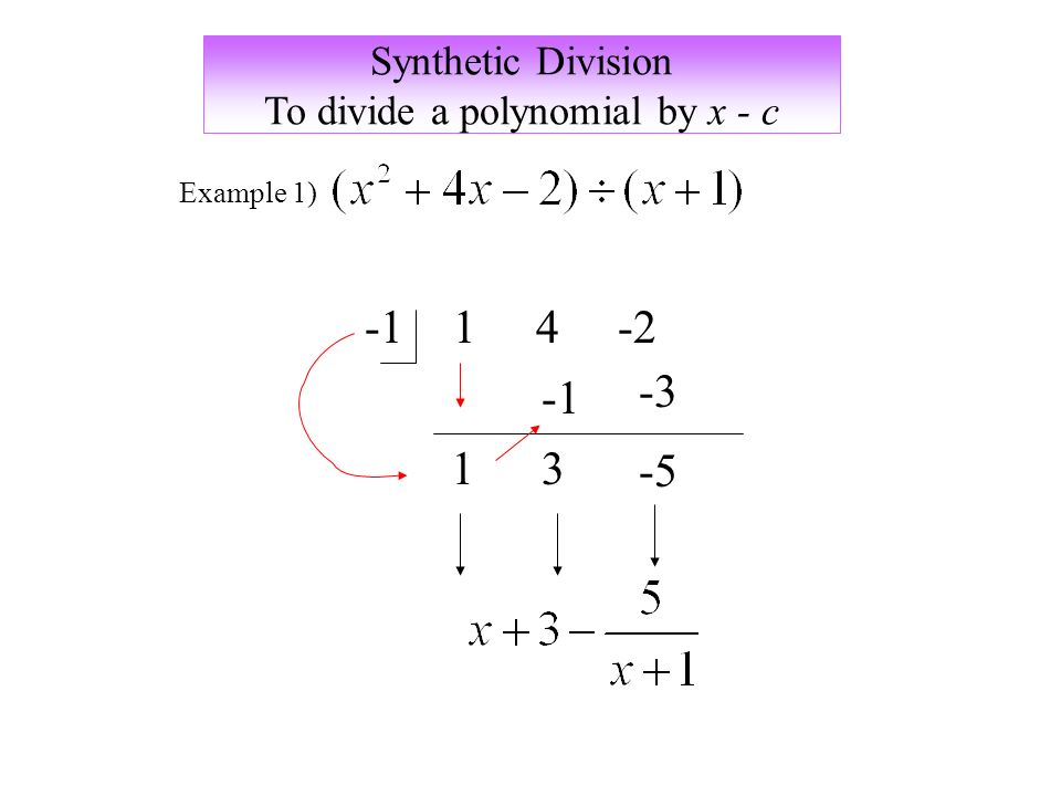 Synthetic Division To divide a polynomial by x - c Example 1)