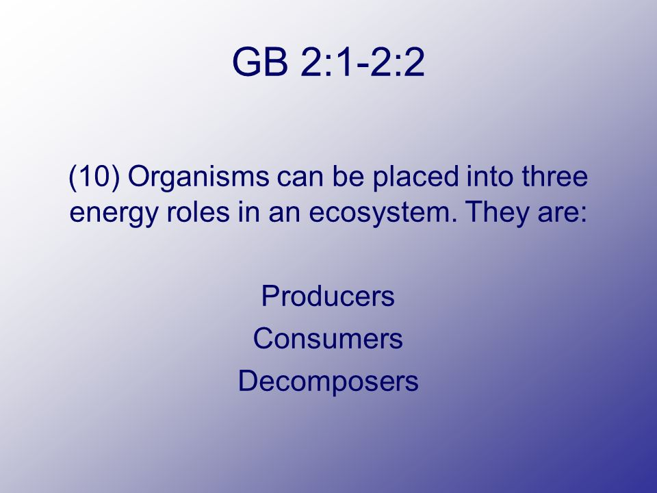 GB 2:1-2:2 (10) Organisms can be placed into three energy roles in an ecosystem.