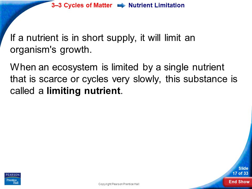 End Show 3–3 Cycles of Matter Slide 17 of 33 Copyright Pearson Prentice Hall If a nutrient is in short supply, it will limit an organism s growth.