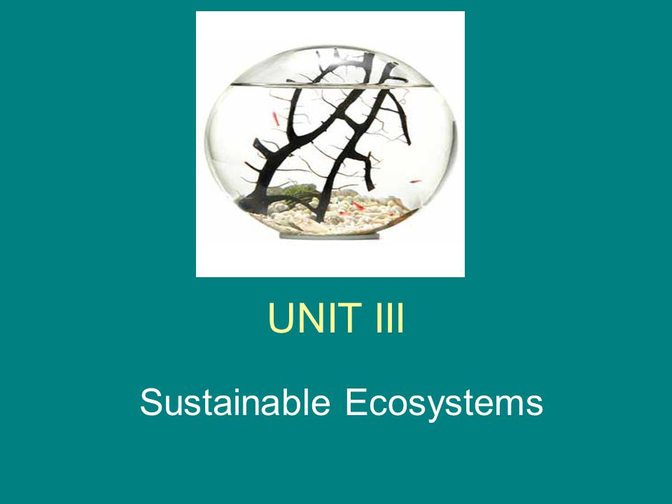 UNIT III Sustainable Ecosystems