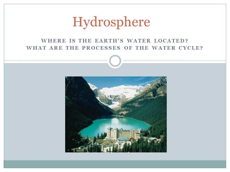 WHERE IS THE EARTH'S WATER LOCATED WHAT ARE THE PROCESSES OF THE WATER CYCLE Hydrosphere