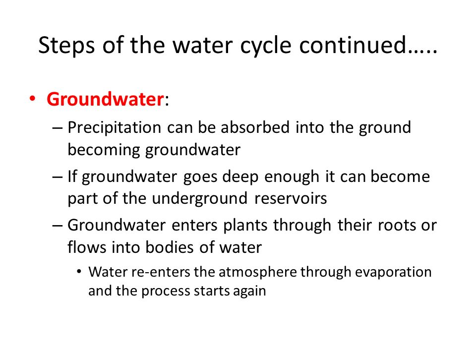 Steps of the water cycle continued…..