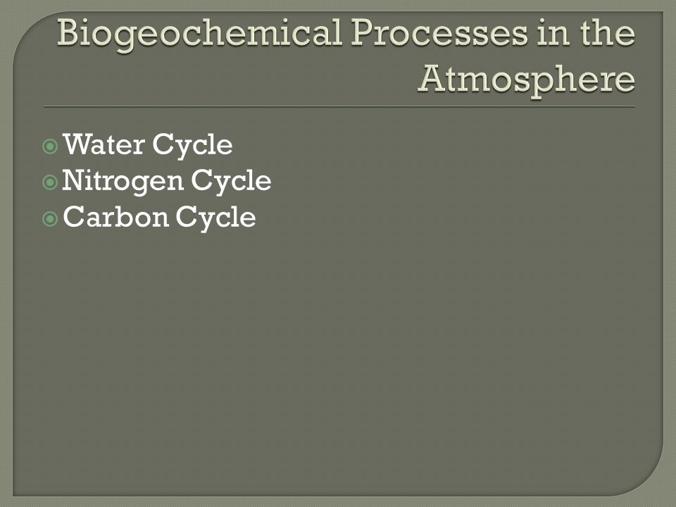  Water Cycle  Nitrogen Cycle  Carbon Cycle