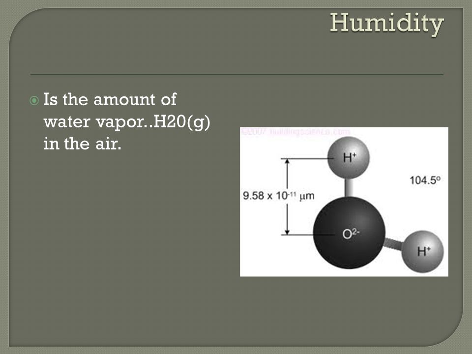  Is the amount of water vapor..H20(g) in the air.
