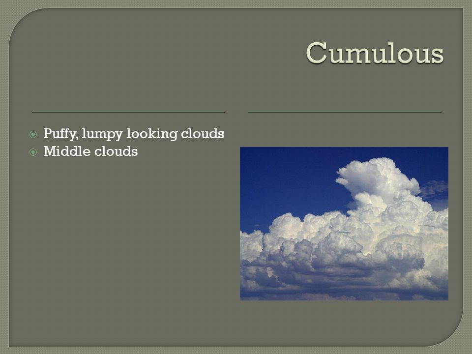  Puffy, lumpy looking clouds  Middle clouds