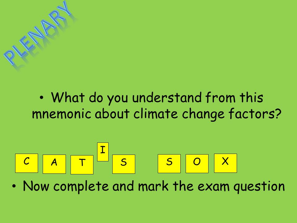 What do you understand from this mnemonic about climate change factors.