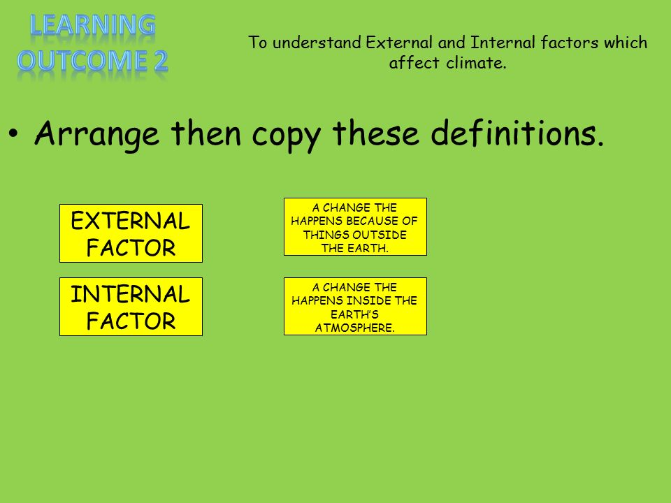 To understand External and Internal factors which affect climate.