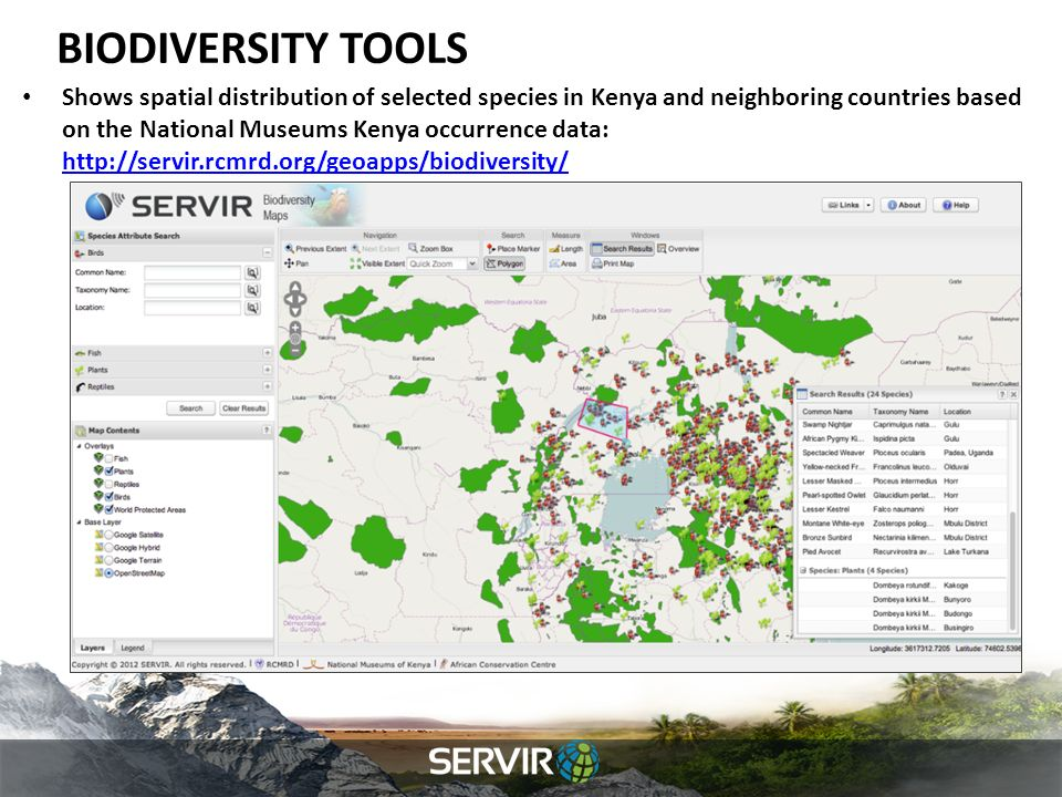 BIODIVERSITY TOOLS Shows spatial distribution of selected species in Kenya and neighboring countries based on the National Museums Kenya occurrence data: