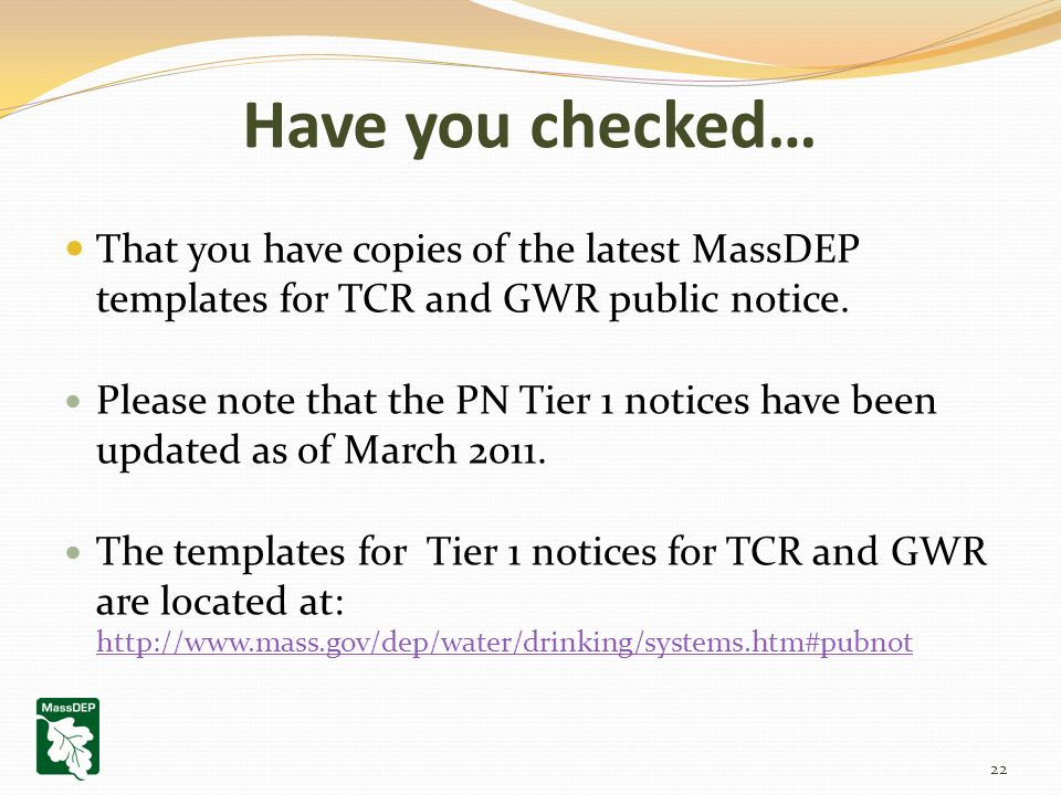 That You Have Copies Of The Latest MassDEP Templates For TCR And GWR Public Notice