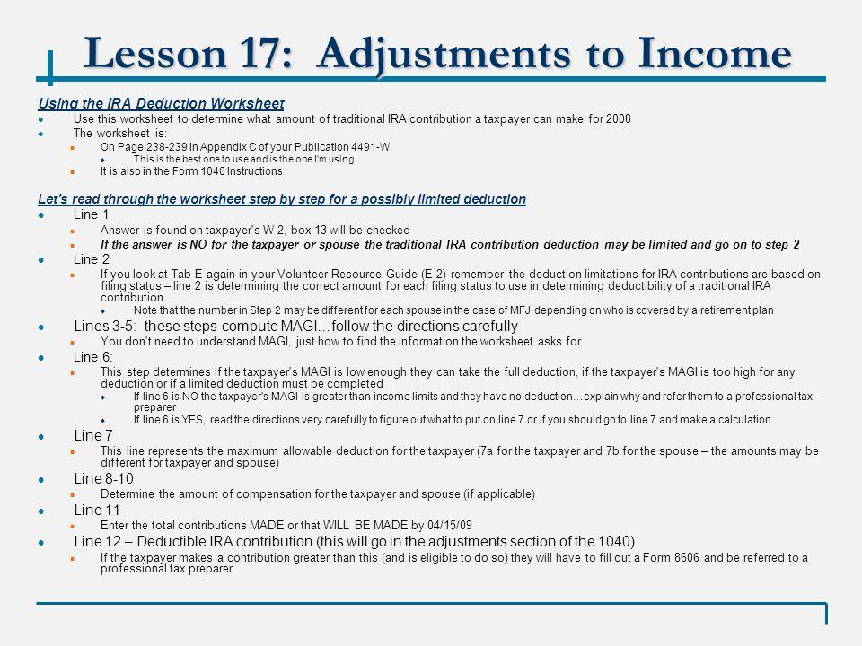 Vita 01 17 09 Lesson 17 Adjustments To Income Winter 2008 Kristina