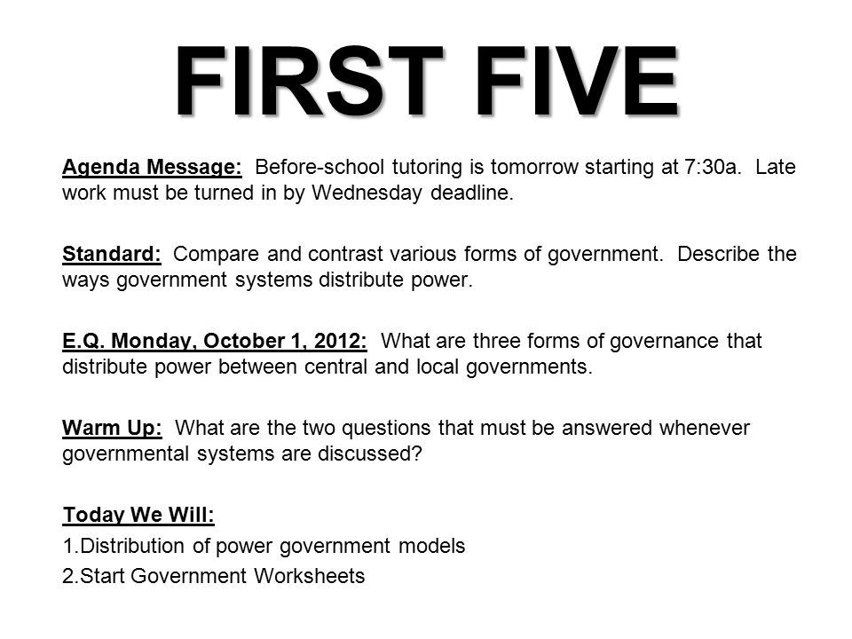 the student will compare and contrast various forms of government