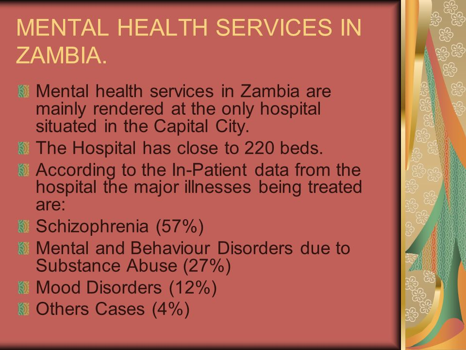 MENTAL HEALTH SERVICES IN ZAMBIA.