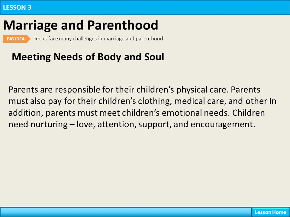 Meeting Needs of Body and Soul LESSON 3 Marriage and Parenthood BIG IDEA Teens face many challenges in marriage and parenthood.