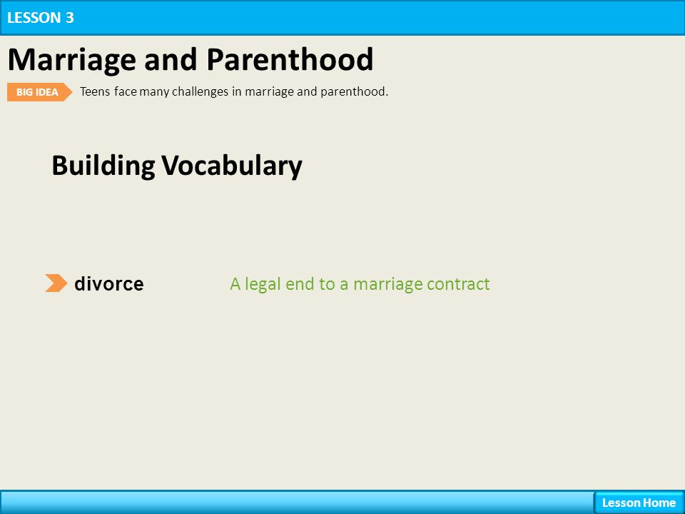Building Vocabulary divorce A legal end to a marriage contract LESSON 3 Marriage and Parenthood BIG IDEA Teens face many challenges in marriage and parenthood.