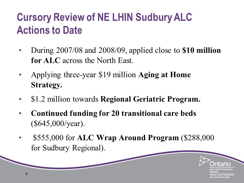 1 Alternate Level Of Care Alc In Sudbury And The North East Lhin
