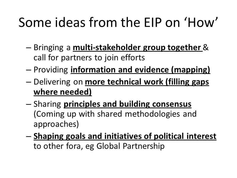 Some ideas from the EIP on 'How' – Bringing a multi-stakeholder group together & call for partners to join efforts – Providing information and evidence (mapping) – Delivering on more technical work (filling gaps where needed) – Sharing principles and building consensus (Coming up with shared methodologies and approaches) – Shaping goals and initiatives of political interest to other fora, eg Global Partnership