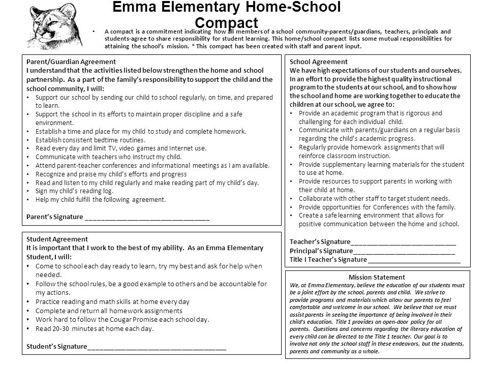 Emma Elementary Home-School Compact A compact is a commitment indicating how all members of a school community-parents/guardians, teachers, principals and students-agree to share responsibility for student learning.