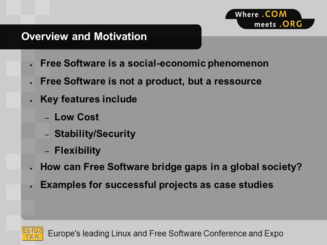 Europe's leading Linux and Free Software Conference and Expo
