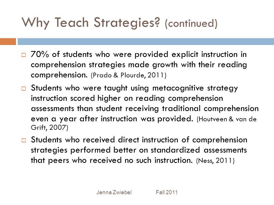 Improving Understanding Reading Strategy Instruction Jenna Zwiebel