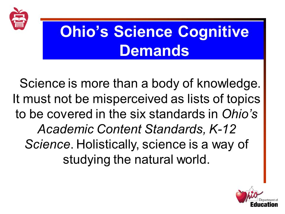 Standards-Based Science Instruction  Ohio's Science