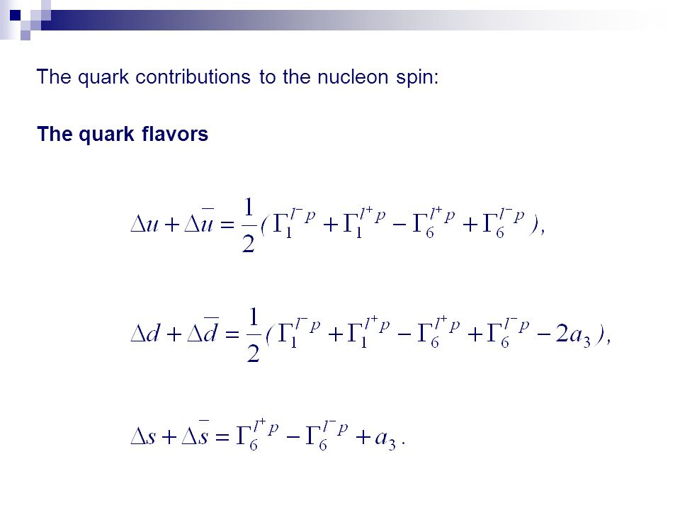 The quark contributions to the nucleon spin: The quark flavors