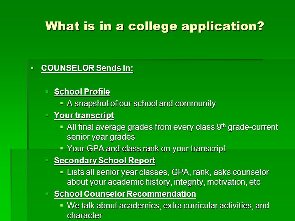 What is in a college application.