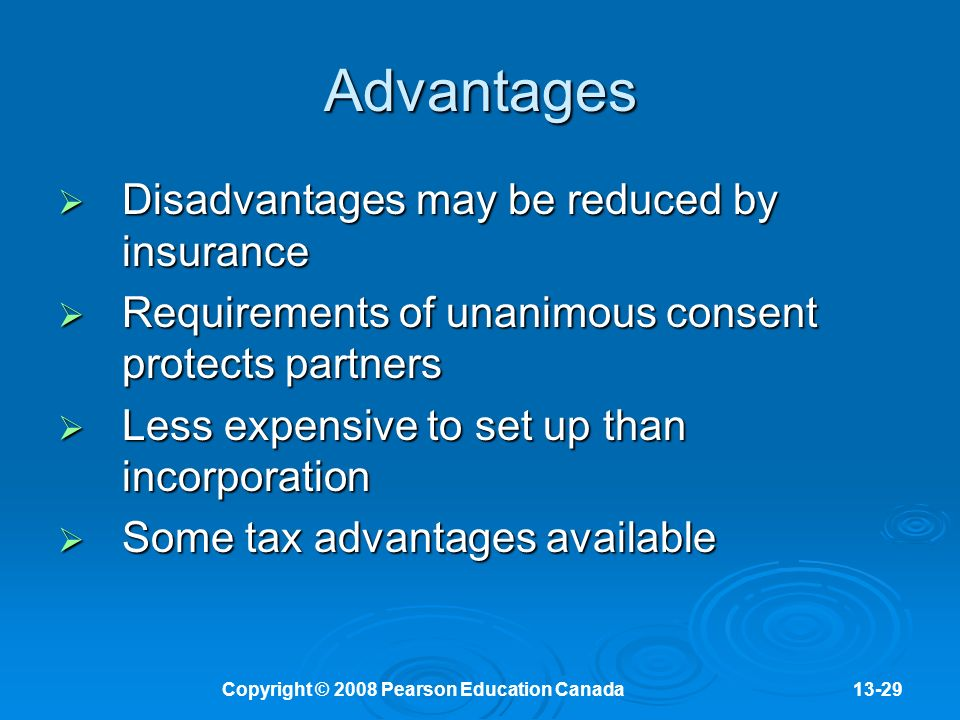 Copyright © 2008 Pearson Education Canada13-29 Advantages  Disadvantages may be reduced by insurance  Requirements of unanimous consent protects partners  Less expensive to set up than incorporation  Some tax advantages available