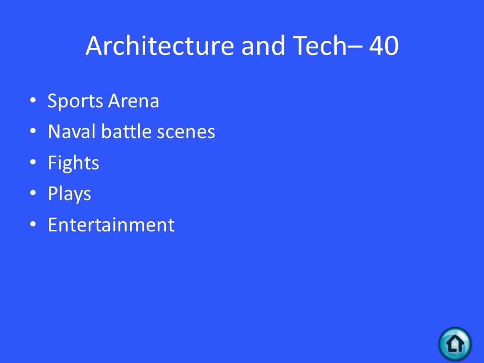 Architecture and Tech– 40 Sports Arena Naval battle scenes Fights Plays Entertainment