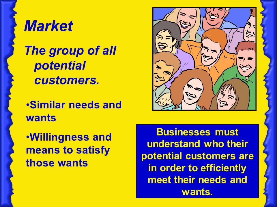 Market The group of all potential customers.