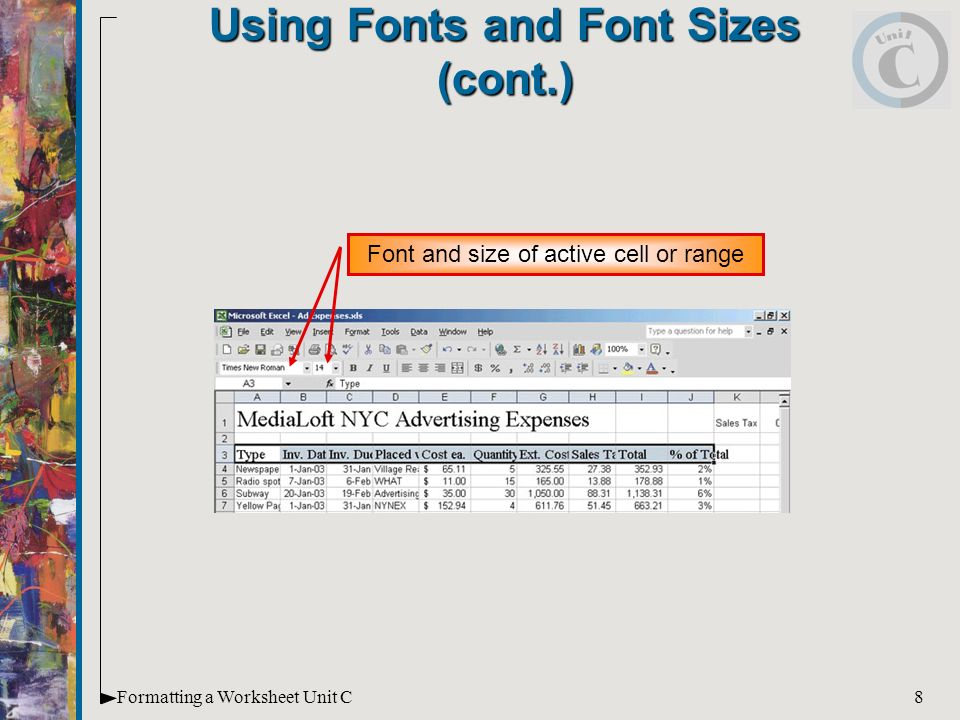 Microsoft Office Xp Illustrated Introductory Enhanced A Worksheet. 8 8formatting A Worksheet Unit C Using Fonts And Font Sizes Cont Size Of Active Cell Or Range. Worksheet. Worksheet Range Excel C At Clickcart.co
