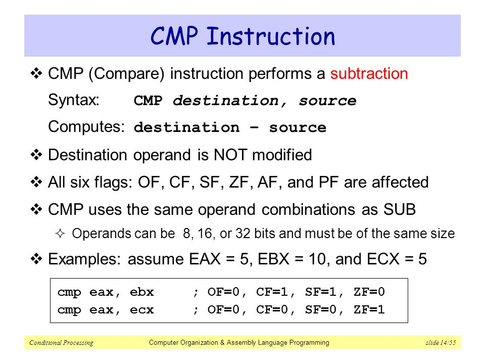 Conditional Processing Computer Organization Assembly Language