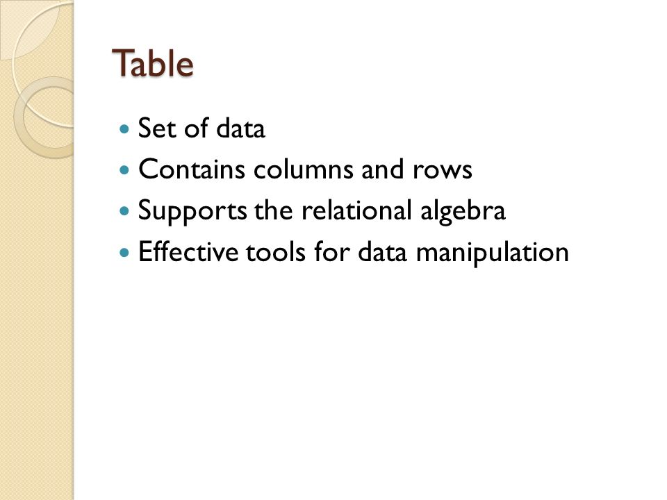 Table Set of data Contains columns and rows Supports the relational algebra Effective tools for data manipulation