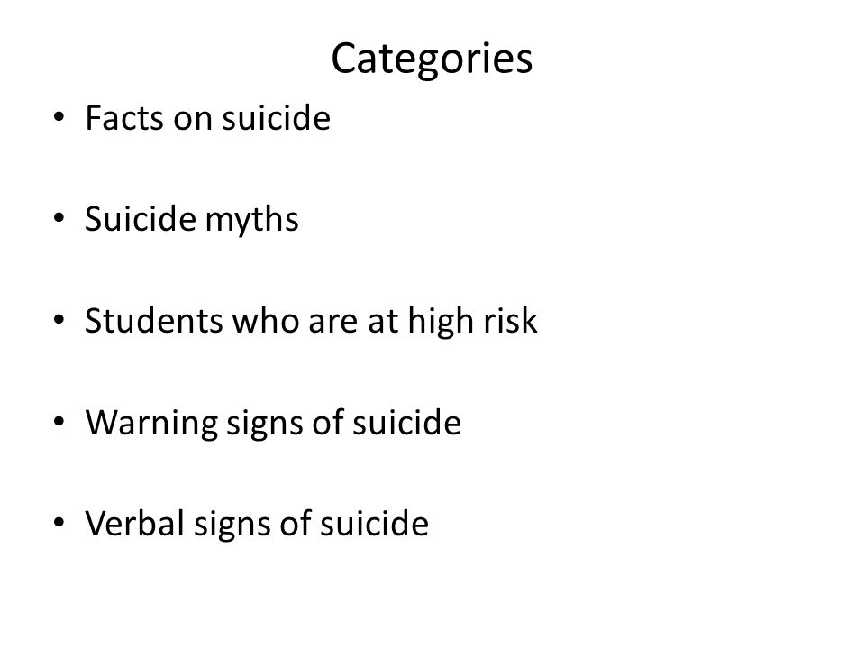 Categories Facts on suicide Suicide myths Students who are at high risk Warning signs of suicide Verbal signs of suicide