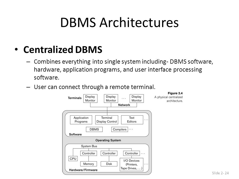 DBMS Architectures Centralized DBMS – Combines everything into single system including- DBMS software, hardware, application programs, and user interface processing software.