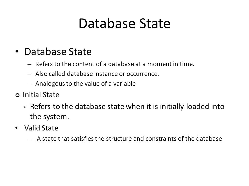Database State – Refers to the content of a database at a moment in time.