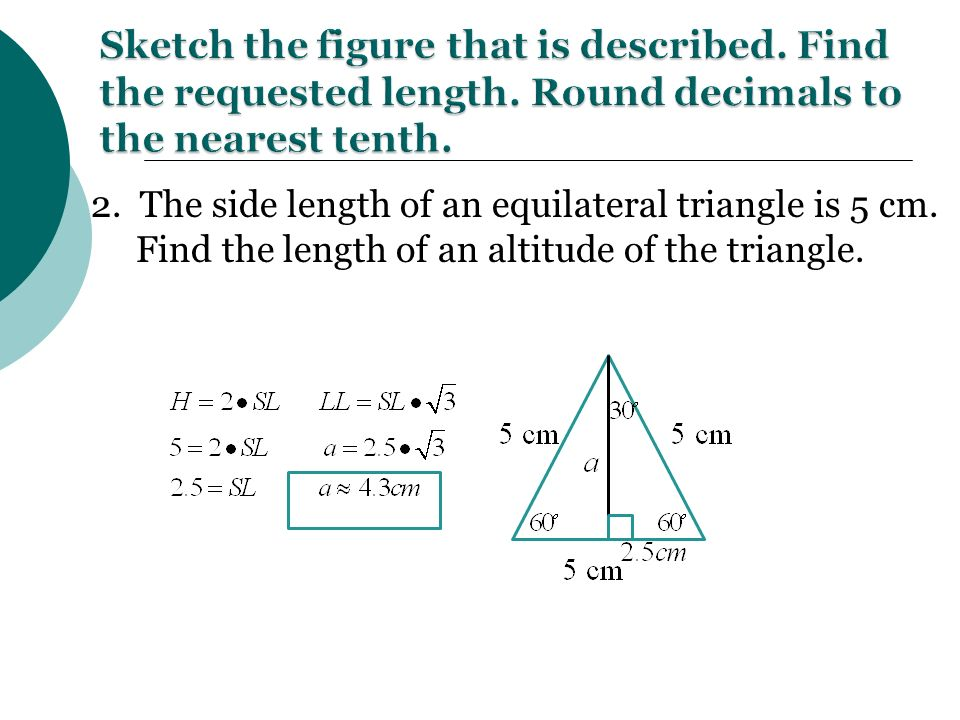 Special Right Triangles Eq How Do You Use The Properties Of. The Side Length Of An Equilateral Triangle Is 5 Cm. Worksheet. Special Right Triangles Worksheet Form K At Clickcart.co