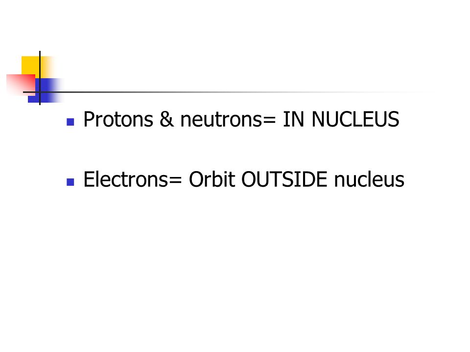 Protons & neutrons= IN NUCLEUS Electrons= Orbit OUTSIDE nucleus