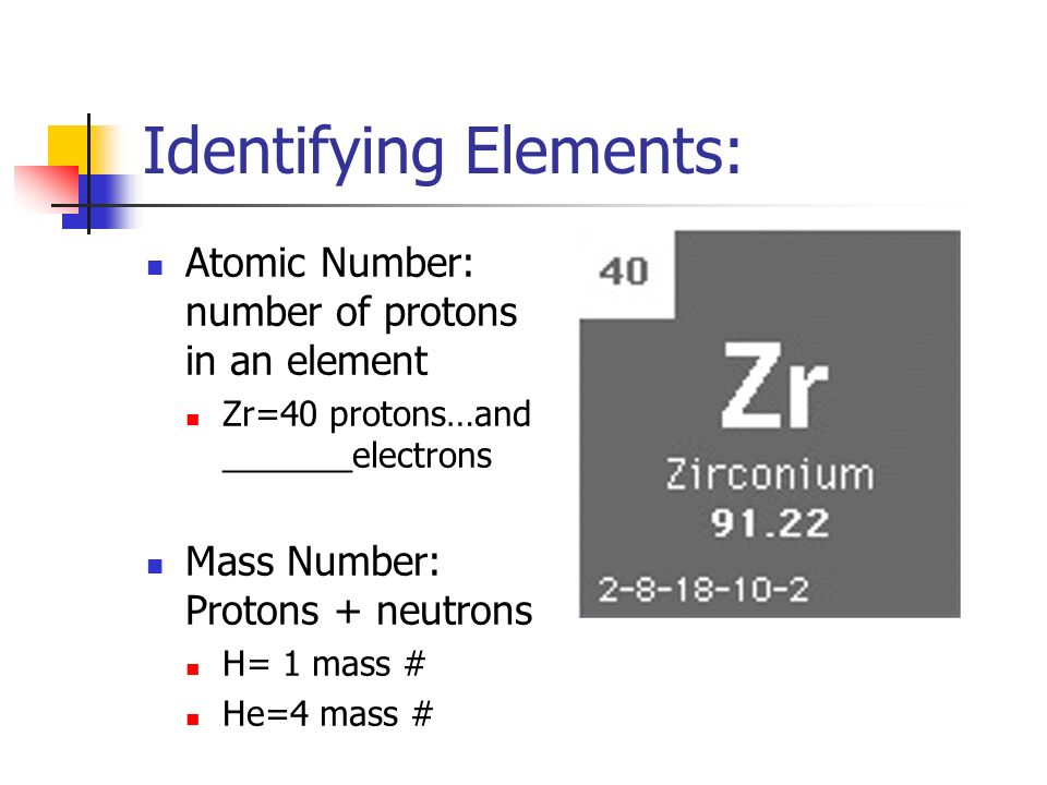 Identifying Elements: Atomic Number: number of protons in an element Zr=40 protons…and _______electrons Mass Number: Protons + neutrons H= 1 mass # He=4 mass #