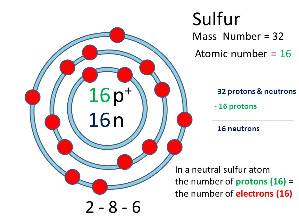 11 12 sodium atomic number mass number pp n protons neutrons 4 16 sulfur atomic number mass number 2 8 6 pp n 32 16 32 protons neutrons 16 neutrons in a neutral sulfur atom the number of protons 16 the ccuart Choice Image