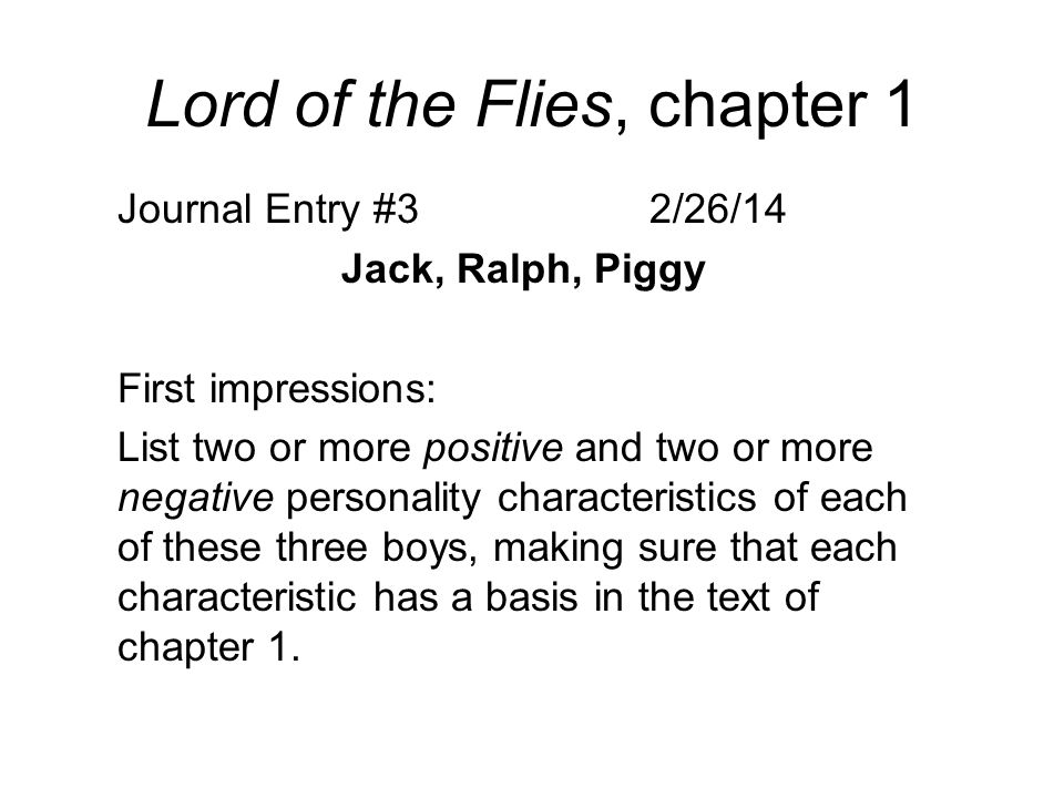 Lord Of The Flies Chapter 1 Journal Entry 322614 Jack Ralph