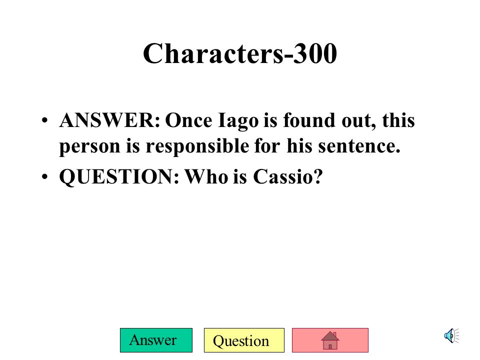 Question Answer Characters-400 ANSWER: He is sent from Venice and is the uncle to Desdemona.